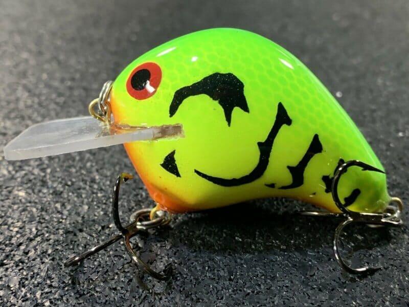 John Hott Lures Custom Balsa Crankbait Petite Petee Lime Chartreuse Craw